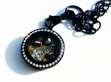 origami owl living locket look black and crystal