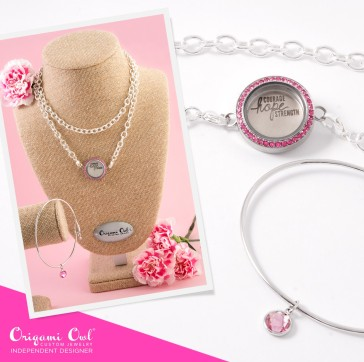 pink breast cancer october o2 origami owl courage hope strength